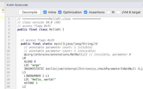 Java コードへのデコンパイル - Kotlin 入門